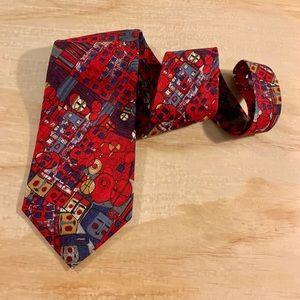 Structure Red Italian Brumwolle Cotton Men's Tie